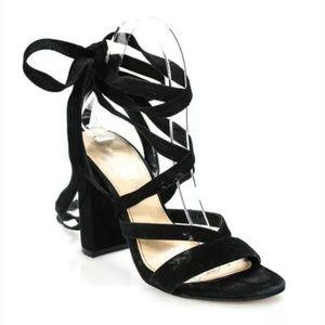 Ivanka trump suede black chunky heel lace sandals